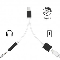 Type C to 3.5mm Headphone Jack Audio Adapter Charger Cable 2 in 1 USB C Adapter - Black