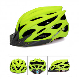 Unisex Bicycle Helmets with Back Light Mountain Road Bike Molded Cycling Helmets - Green
