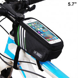 5.7inch Bicycle Bags Waterproof Touch Screen Cycling Pouch Mobile Phone Storage Bag - Black