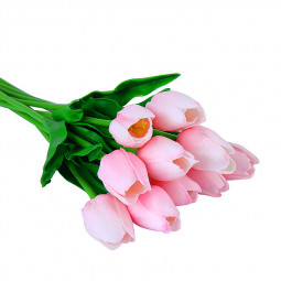 1pcs Artificial Tulips Fake Flowers PU Tulip for Home Decoration Wedding Party - Pink