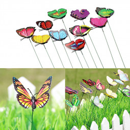 10Pcs/lot Colorful Butterfly On Stick Garden Vase Lawn Decor Party Even Wedding Decoration