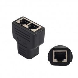 RJ45 Splitter Adapter 1 to 2 Dual Female Port CAT 5/CAT 6 LAN Ethernet Socket Adapter