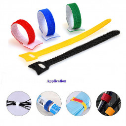 100pcs Nylon Reusable Cable Ties T Shape Nylon Hook Loop Fastener Management Strap Assorted Colour