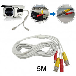 5M CCTV Pre-made Cable BNC to DC Video Camera Surveillance Power Extended Cable - White