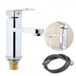 Modern Basin Mixer Tap Square Chrome Bathroom Sink Basin Mixer + Stainless Hose