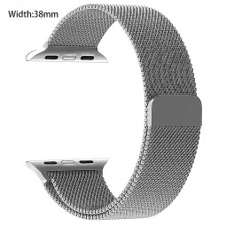 Apple Watch Band 38mm Magnetic Closure Clasp Mesh Loop iWatch Band Stainless Steel Replacement Wristband - Silver