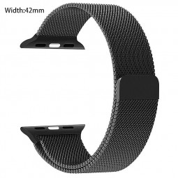 42mm Stainless Steel Mesh Loop Replacement iWatch Band with Magnetic Closure Clasp for Apple Watch - Black
