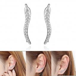 Women's Elegant Metal Leaf Earrings Long Pattern Ear Clip - Silver