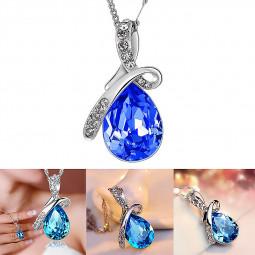 Fashion Silver Chain Crystal Rhinestone Pendant Necklace Jewelry for Women - Dark Blue