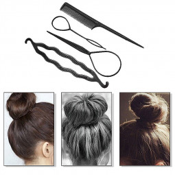 4Pcs Set Styling Clip Bun Maker Hair Twist Braid Ponytail Tool Hair Makeup Accessories - Black