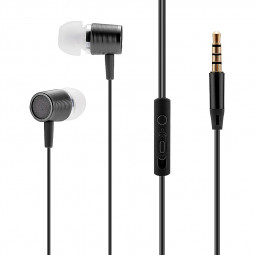 Universal 3.5mm In-Ear Earphone Earbuds with Mic for Samsung iPhone HTC Smartphones - Black
