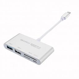 USB-C 3.1 Type-C OTG USB 3.0 Hub USB 2.0 SD/TF Card Reader Combo for Laptop - Silver