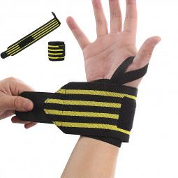 Fitness Wrist Wrap with Thumb Loop Crossfit Wrist Supports - Yellow