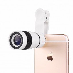 Universal 8X Zoom Optical Clip Telephoto Telescope Lens Mobile Cell Phone Camera - White