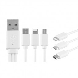 20cm 3 in 1 8pin Micro USB Data Charging Cable for iPhone Samsung