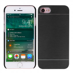Aluminium Brushed Metal Case Anti-Scratch Protective Case Cover for iPhone 7/8 - Black
