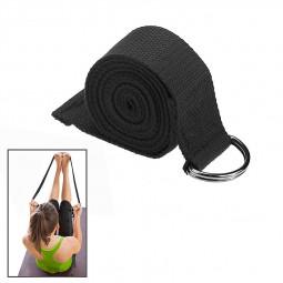 D-Ring Cotton Yoga Stretch Strap Training Belt Fitness Exercise Gym Equipment - Black