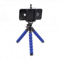 Larger Octopus TriPod Stand Grip Holder Mount with Clip for Mobile Phones Cameras Gadgets - Blue