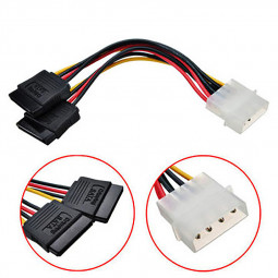 4pin IDE Molex to Dual 15pin Sata Power Supply Cable Y Splitter Hard Drive Extension Cable