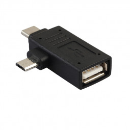 USB 3.1 Type-C + Micro USB to USB 3.0/2.0 Female Adapter Connector with OTG Function