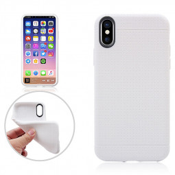 Anti-slip Mesh Dots TPU Soft Back Phone Case for Apple iPhone X/XS - White