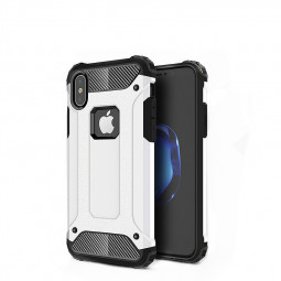 For Apple iPhone X/XS Rugged Hard Armor TPU + PC Hybrid Case - White