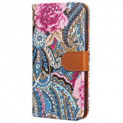 Painting Flower PU Leather Wallet Stand Case Flip Cover for Apple iPhone X/XS - Blue