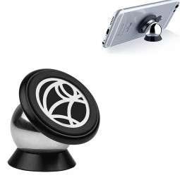 Universal 360 Degree Rotating Phone Holder Car Magnetic Mount Stand - Black