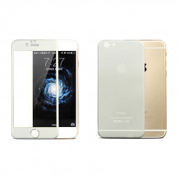 iPhone 6 Plus Protector Front Tempered Glass + Back Titanium Alloy Protector - Silver