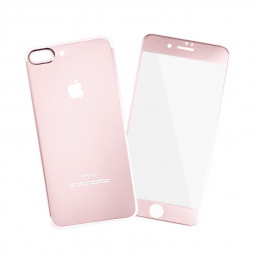 Full Coverage Front + Back Tempered Glass Film Protector for iPhone 7/8 Plus - Rose Gold