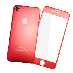 For iPhone 7/8 Protector Plated Front + Back Tempered Glass Guard Films - Red