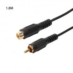 1.8M RCA Male to RCA Female M/F Audio Composite Extension Cable - Black