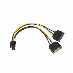 SATA 6Pin to Dual 15Pin Power Switch Power Supply Cable Power Cord for PC