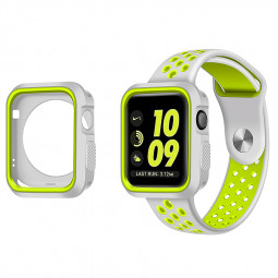 iWatch Bumper Case + Watch Strap Wristband for Apple Watch 42mm - White + Yellow