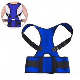 Size XL Magnetic Back Shoulder Pain Relief Posture Support Brace Belt - Blue
