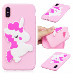 3D Cute Animal Pattern Soft TPU Silicone Shockproof Case Cover for iPhone X/XS - Horse