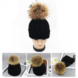 Adults Woman Man Warm Winter Wool Knit Beanie Pom Hat Cap - Black