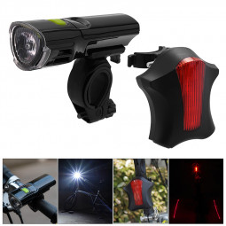 Road Bike Bicycle Cycling Head Front Lights + Laser Rear Tail Lamps Set