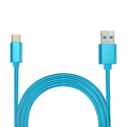 1M Type C Weave Braided High-Quality Data Sync Cable USB Charger Charging Cord - Blue