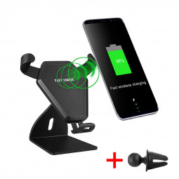 Wireless Car Mount Air Vent Phone Holder Standard Charger for iPhone 8/X Samsung S8 - N5-2