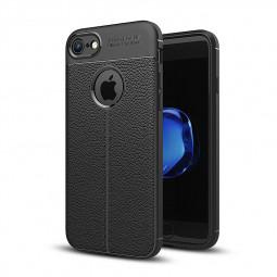iPhone 8 Slim PU Leather Striae TPU Silicone Case Soft Good-Handfeeling Back Cover - Black