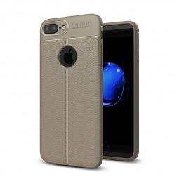 iPhone 8 Plus Soft TPU Silicone PU Leather Striae Case Slim Elegant Durable Back Cover - Grey