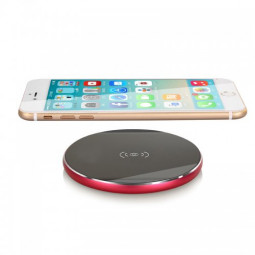 N8 Wireless Portable Metal Pad Charger for Samsung Galaxy S8 iPhone 8 / X - Red