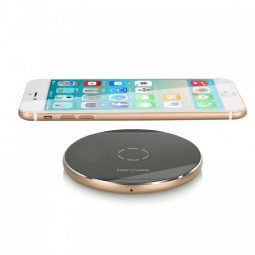 N9 Wireless Charger Portable Metal Circular Charging Pad for iPhone 8/X - Gold