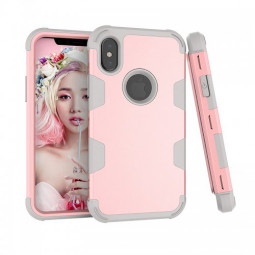 iPhone X/XS PC + TPU Shockproof Bump Protective Contrast Colors Case Back Cover - Rose Golden + Grey