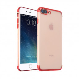 iPhone 7 8 Plus Soft TPU Silicone Clear Ultra Slim Thin Case Back Cover - Red