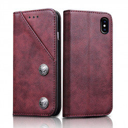 Retro Vintage PU Leather Case Magnetic Flip Full Protection Cover with Wallet Card Slot for iPhone X/XS - Wine Red