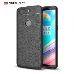 Ultra Thin Litchi Stria PU Leather Soft TPU Silicone Case Back Cover for One Plus 5T - Black