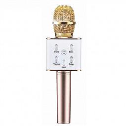 Q7 Wireless Bluetooth Handheld Microphone Portable Home KTV Karaoke Stereo Mic Speaker USB Player for Mobile PC - Golden
