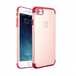 iPhone 7 8 Clear TPU Case Slim Soft Silicone Shockproof Back Cover Shell - Red